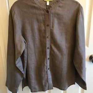 Sigrid Olsen linen shirt with fagoting detail.